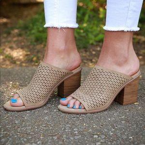 Perforated Open Toe Block Heel Mule